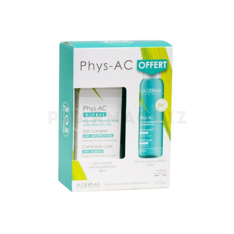 Aderma Phys-AC Global Soin Imperfections 40ml + Gel Moussant Purifiant 100ml Offert
