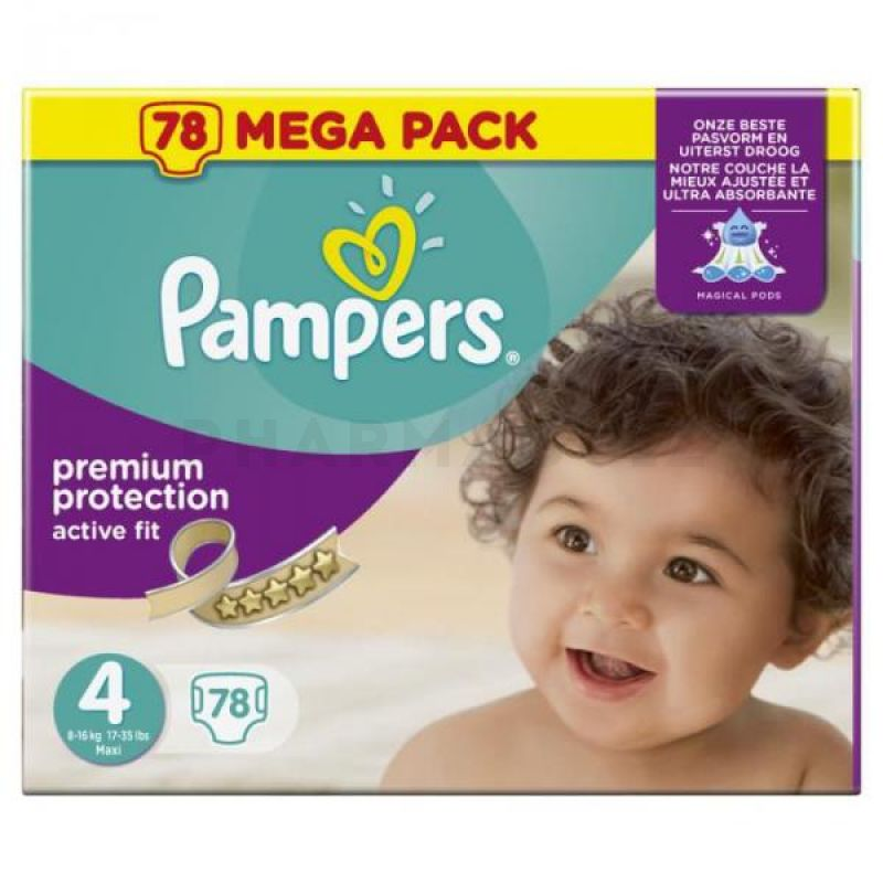 Pampers taille 4 mega pack 78 couches pharmaguiz - Couches pampers active fit taille 4 giga pack ...