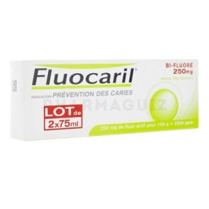Fluocaril Bi-Fluoré 250 mg menthe dentifrice 2 x 75 ml