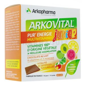 Arkovital Pur'Energie multivitamines Junior 15 carrés de chocolat