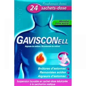 Gavisconell menthe sans sucre suspension buvable 24 sachets