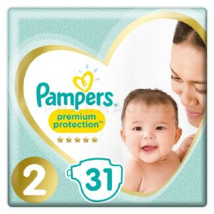 Pampers Couches Premium Protection New Baby T. 2 Mini 4-8 kg 31 pièces
