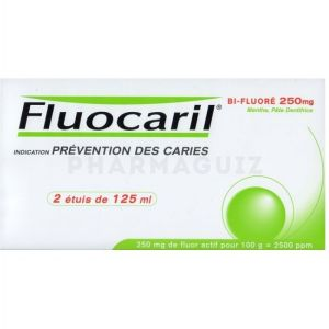 Fluocaril dentifrice Bi-Fluoré 250 mg 2 X 125 ml