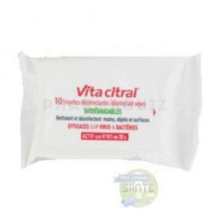 Vitacitral 10 Lingettes Désinfectantes Biodégradables